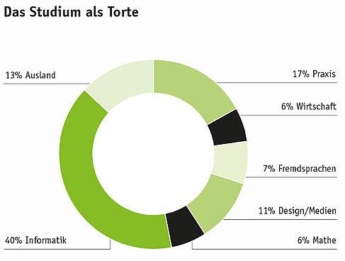 Das Studium als Tortendiagramm: 40 % Informatik, 17 % Praxis, 13 % Ausland, 11 % Design/Medien, 7 % Fremdsprachen, 6 % Mathe und 6 % Wirtschaft